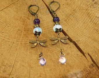 Earrings Dragonfly antique bronze plated brass, amethyst and Crystal