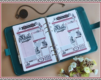 """Printable """"Alice's SET"""" A5 size 148x210mm (print double sided) , INSTANT DOWNLOAD"""
