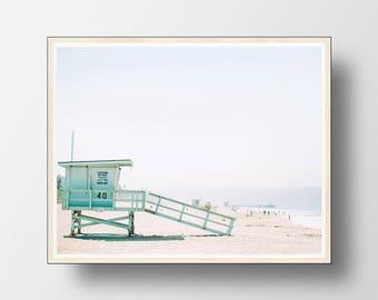 Beach Wall Art, Beach Print, Coastal Wall Art, Coastal Decor, Beach, Ocean Waves Print,  Beach Photography,  Lifeguard Tower,  Summer Decor