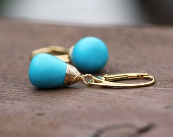 Smooth Natural Arizona Sleeping Beauty Turquoise Wire Wrapped Earrings Lever Backs 14K Gold Vermeil, December Birthstone, 11th Anniversary