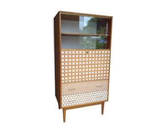 Secrétaire vintage années 60 revisité motifs géométriques au pochoir