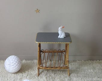 bedside, bedside rattan furniture Wicker, with polka dots, vintage rattan table furniture