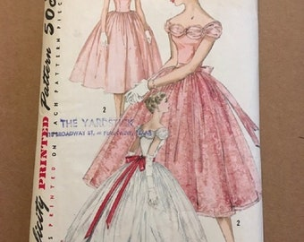 Vintage SImplicity Printed Pattern 1770 Size 16 Bust 36 Junior Misses and Misses Evening Dresses in 2 Lengths
