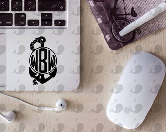 Anchor with Rope Monogram Decal