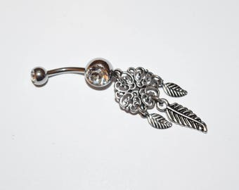 Clear Heart Filigree Dream Catcher Dangle 316L Surgical Steel Jeweled Ball Belly Button Rings, belly rings, navel ring