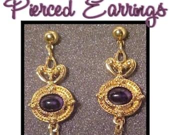 Vintage Avon Jeweled Goldtone Dangle Drop Pierced Earrings S944 designer signed