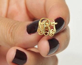 Gold Monogram Earring-Tiny Earring-Custom Jewelry-İnitial Earrings- Monogram Jewelry-Bridesmaid Gift-Personalized Gift-Personalized Jewelry