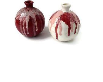 Ceramic Flower Vase, Small Pottery Vase, Home Decor Gift, Red White Vase, Modern Vase Set, Gift for Her, Housewarming Gift, Vase Set Ceramic