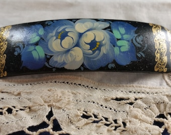 Hand Painted Russian Barrette with Blue and White Cabbage Rose, Gold Filigree Border. Toll Painted Floral Black Laquer Hair Clasp