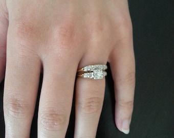 Vintage Keepsake Diamond, White and Yellow Gold Engagement and Wedding Ring Bridal Set - Size 6