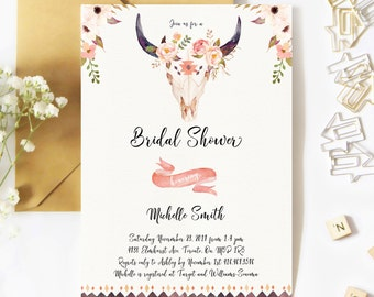 Bridal Shower Invitation, Boho Bridal Shower Invitation, Floral, Watercolor, Antler, Fall, Boho, Printable, Rustic Bridal Shower