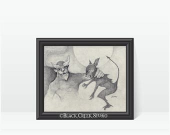 cryptid combat 2 art print original artwork goatman vs chupacabra pencil drawing cryptids