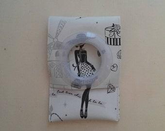 "Pocket notebook Ecru leatherette ""la parisienne"" pattern"