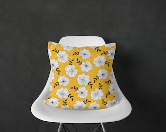 Yellow Floral Pillow, Flower Pillow, Floral Throw Pillows, Yellow Pillow Cover, Modern Floral Pillow, Throw Pillows, Accent Pillow Cover