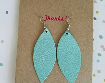 "Handmade Leather Earrings - Mint Green - 2.5"" x 1"""