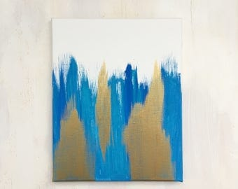 Blue and Gold Metallic Abstract Canvas