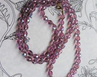 Crystal Necklace - Lavender Pale Violet - Long Crystal Necklace
