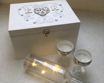 Personalised Initial Love Heart Wooden Wedding Memory Box, Wedding Gift,