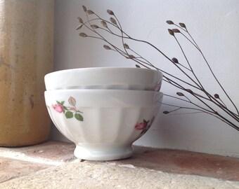 Pair of Limoges Porcelain Facet Bowls - Sofafils - Flower Decor - Bowl Collection - French - Faceted bowls