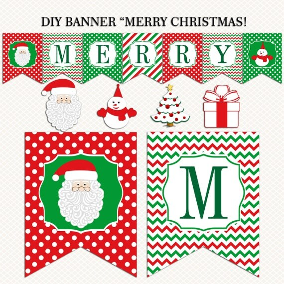 Merry Christmas Banner printable. Christmas Holiday banner.