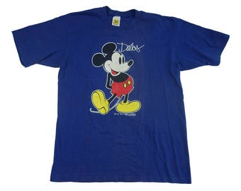 Vintage Mickey Mouse 1980s Dallas Texas Walt Disney Tee - Vintage 80s 90s Mickey Mouse Disneyland Cartoon Tshirt - L