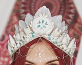 FOR A SMALL HEAD Maldives Sand Mermaid Crown bohemian tiara with feathers, shells, crystals and chains