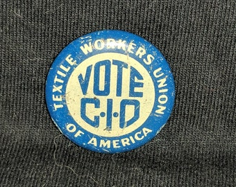 Button of textile workers union, 1960