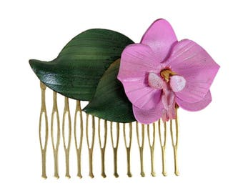 Hair comb Orchid in bloom with cowhide leather