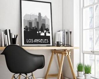LA Skyline art print, LA silhouette print. Los Angeles art, Silhouette Art, Silhouette City Poster, City Skyline Art