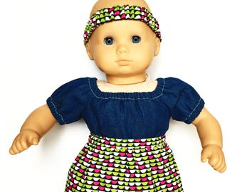 Baby Flare Skirt, Matching Headband, Geometric, Lime Green, Pink, Fits dolls such as American Girl, Bitty Baby, 15 inch Doll Clothes