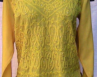 Large Yellow Long Sleeve Boho Blouse