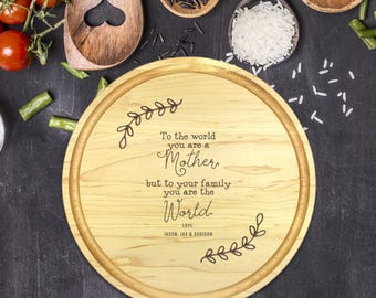 Engraved Cutting Board, Personalized Round Cutting Board, Mothers Day Gift, Gift for Mom, Wife Gift, Gift for Mother, Christmas Gift, B-0116