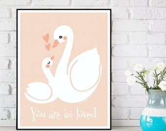 Nursery decor wall art, Children poster, Nursery quote print, Child room decor, Illustration art, Nursery art animals, Swan print, Art print