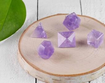 5 Piece Set AMETHYST CRYSTAL Platonic Solids - Sacred Geometry Amethyst Quartz, Chakra Crystal, Meditation Crystal, Healing Crystal E0748