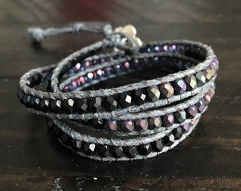 Black and Purple Wrap Bracelet