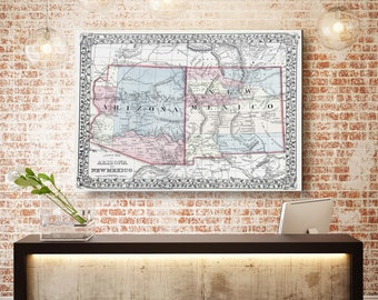 New Mexico State Map, New Mexico Map Canvas, Antiqued New Mexico Map, Canvas Wall Decor, New Mexico Wall Decor, Map of New Mexico Canvas