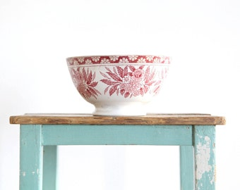 Antique Pink Ironstone Bowl,Pink Transferware Serving Bowl, Ironstone Centerpiece, French Country Decor