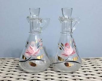 Vintage Clear Glass Vinegar and Oil Cruets