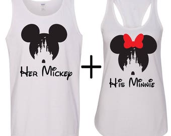 Minnie and Mickey heads inspired with His and her Mickey, Men's tank top with ladies Racerback, Minnie and Mickey shirts, Disney inspired