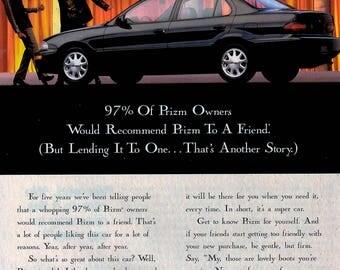 1996 Chevolet Geo Prizm vintage magazine ad wall decor man cave man gift 1707