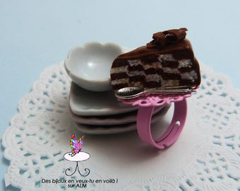 Ring checkerboard chocolate cake, vanilla gourmet fimo