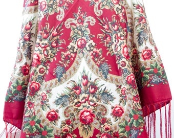 Russian Shawl with fringes - Floral Pattern Classical Design Fashion Scarf - Square Shape - Red Color (C)