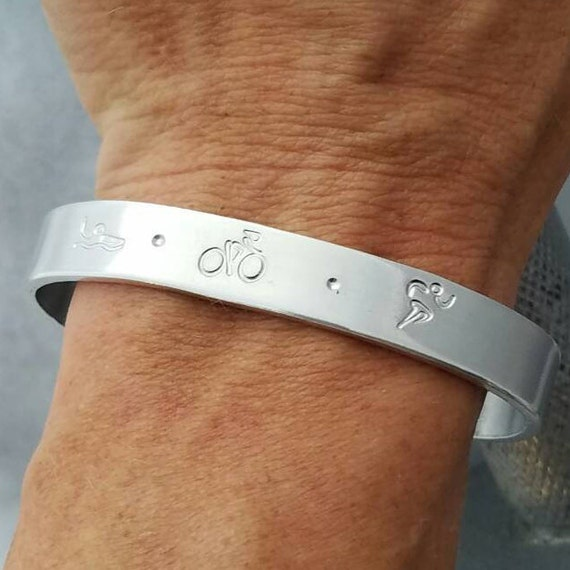 Ironman Jewelry, Triathlon Charms, Triathlete Bracelet, Fitness Jewelry, Ironman Gifts, Silver Cuff, Hand Stamped Customized , TRI Gifts