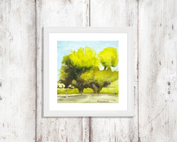 Traditional landscape con trees, little square picture, copy of author, watercolor, gift idea for men, home office decoration, lounging.
