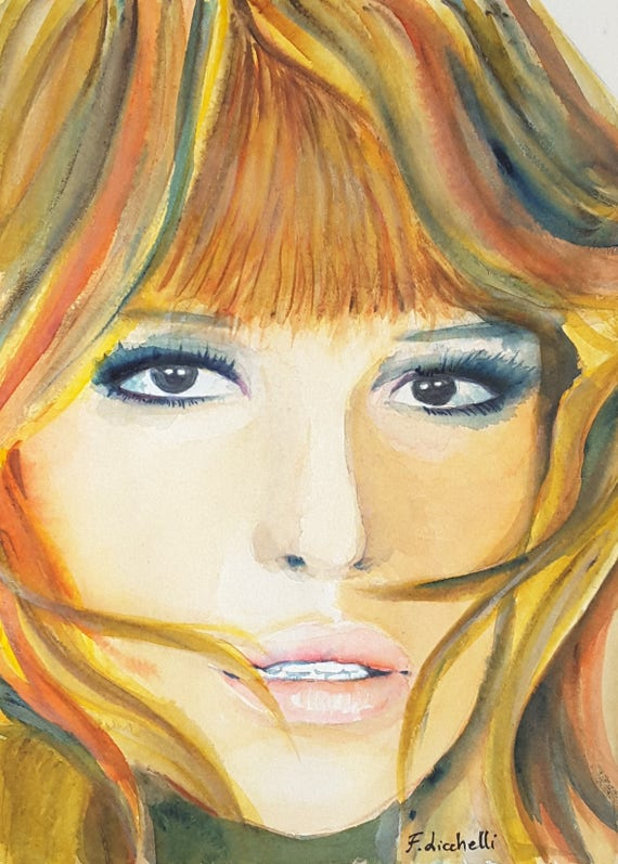 Monica Vitti's portrait, italian actress,original watercolor by Francesca Licchelli, gift idea for movie dive lovers, home office decoration