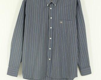 Vintage • Blouse • Shirt • Striped Men's Blouse • Men's Button Up Blouse • Blue Blouse • Men's Striped Shirt • Hipster • Mod • Classic