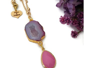 Pink Agate Druzy Pendant Necklace, Agate Necklace, Agate Jewelry, Druzy Necklace, Boho Necklace, Pink Jewel Necklace, Stone Necklace