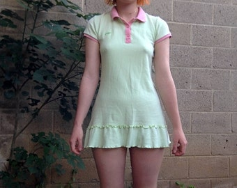 Green Pink Mini Polo Dress