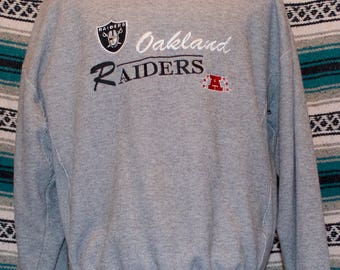 Oakland Raiders Logo Athletic Sweatshirt XL X-Large Green Russell Athletic Gray