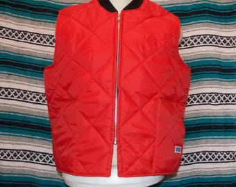 Vintage Big Smith Quilted Vest Red XL X-Large